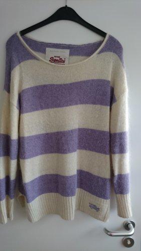 Superdry Sudadera de cachemir beige claro-púrpura lana de angora
