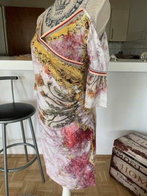 Weiches ItalY Off-Shoulder Kleid - Midi - Größe M/L 38/40 - Rosé/Print