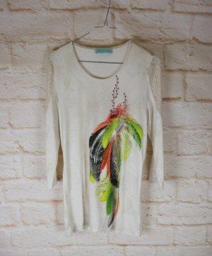 Weiches Sommer Langarmshirt Pfeffinger Größe 38 M Beige Neon bunt Feder Print Shirt Cut Out Netz Spitze Longshirt Sommerpullover