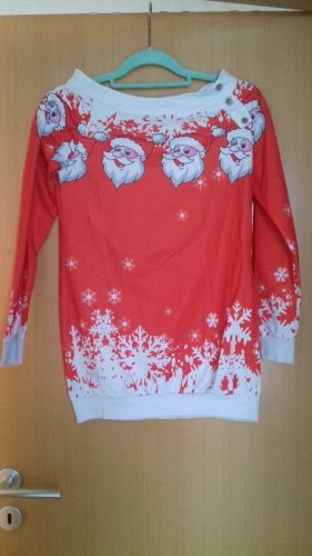 markenlos Sudadera navideña rojo-blanco