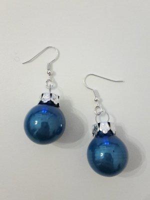 Weihnachtskugeln Ohrringe Ohrhänger blau Weihnachtsschmuck