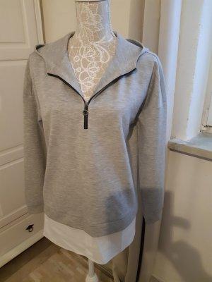 Comma Top à capuche gris clair-blanc