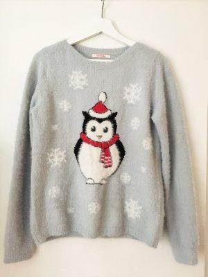 Weihnachtspulli kuschelig mit süßem Pinguin - Gr. 36-38