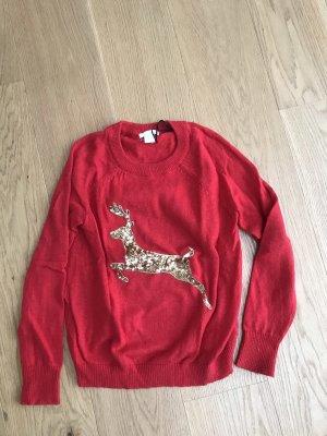 H&M Sudadera navideña rojo-color oro