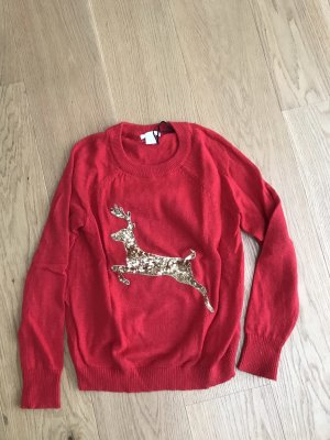 H&M Christmasjumper red-gold-colored