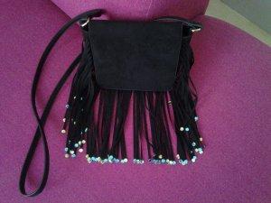 Schwarze Kunstledertasche mit Pailetten