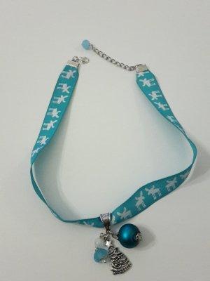Weihnachtsschmuck Kette Halsband blau Rentier Elch Tannenbaum Kugel Perlen