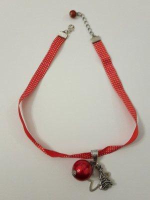 Weihnachtsschmuck Kette Halsband rot Punkte Tanne Stern Kugel