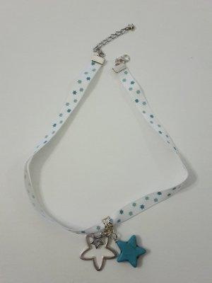 Weihnachtsschmuck Kette Halsband weiß Sterne