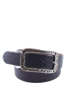 Weinmann Cinturón de cuero negro estampado de animales look efecto mojado