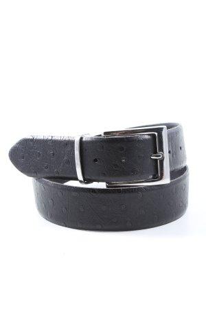 Weinmann Cinturón de cuero negro estampado a lunares estilo «business»