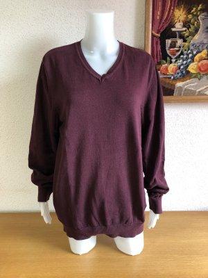 Weinrot lange Tunika V-Ausschnitt Strickpullover Sweatshirt Pulli Oversize