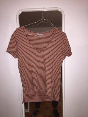 weinrot-rosa gestreiftes t-shirt
