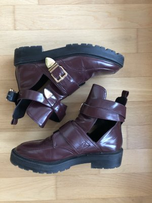 Weinrote Cut-out Stiefeletten Gr. 41