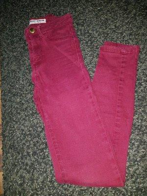 Tally Weijl Spodnie z wysokim stanem ciemnoczerwony-czerwony neonowy