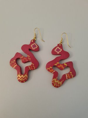 Vintage Statement Earrings gold-colored-dark red