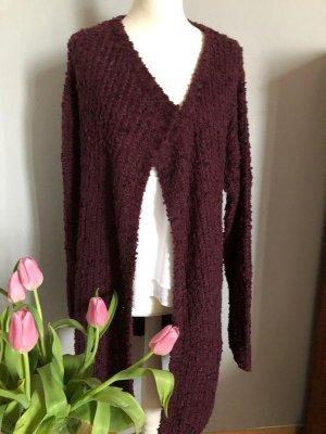 Amisu Coarse Knitted Jacket carmine-bordeaux polyester