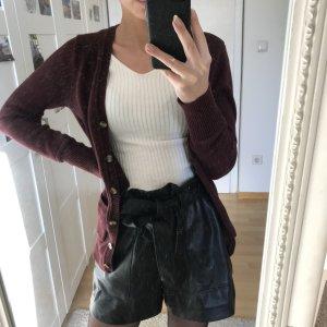 Zara Gilet tricoté bordeau