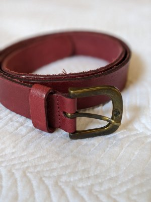 Pieces Leather Belt carmine-bordeaux