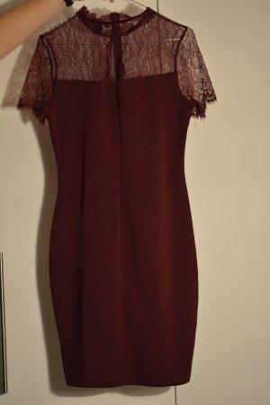 Amisu Vestido de encaje rojo oscuro