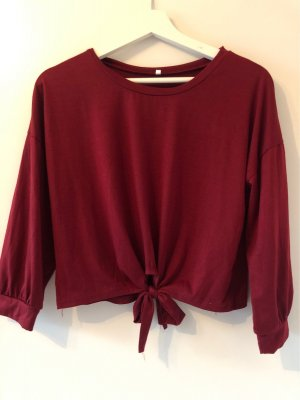 SheIn Cropped Shirt bordeaux-dark red