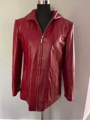 Weiroter Ledermantel / Jacke mit Kapuze von Matrix Collection, Gr. 38