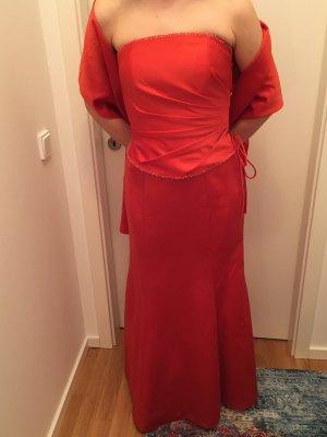 Weise Abendkleid zweiteilig orange glänzend