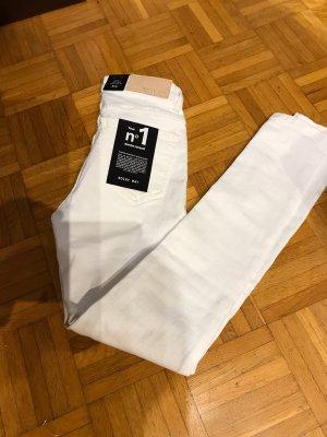 Noisy May Pantalón de tubo blanco