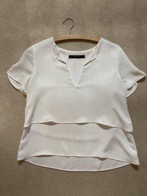 Weises Blusen-T-Shirt von Zara Größe XS