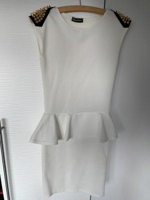 Weises Schösschen Kleid mit Gold Nieten