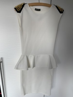 Signature Robe péplum blanc-doré