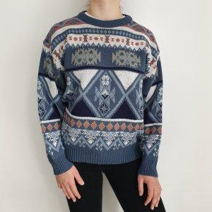 weiß 48 50 Oversize Pullover blau Pulli Sweater Hoodie Top Oberteil True Vintage