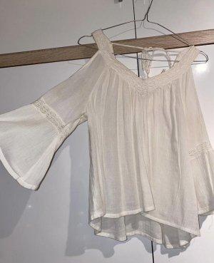 Weiß/beige Bluse
