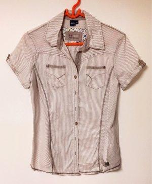 weiß-beige Bluse mit Kragen und Knöpfen, kurzärmlig, Gr. M