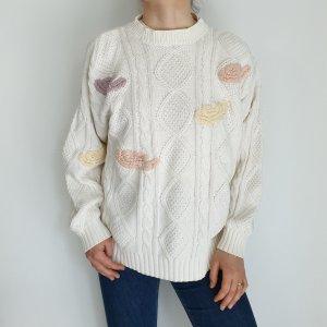 Weiß beige nude Cardigan Strickjacke Oversize Pullover Hoodie Pulli Sweater Top True Vintage