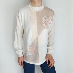 Weiß beige rosa Cardigan Strickjacke Oversize Pullover Hoodie Pulli Sweater Top True Vintage