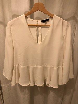 Weiß/beige Rüschen-Bluse