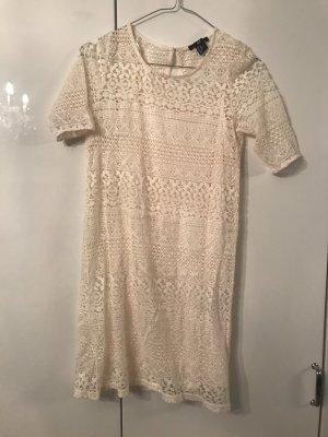 Weiß/Beiges spitzen Kleid