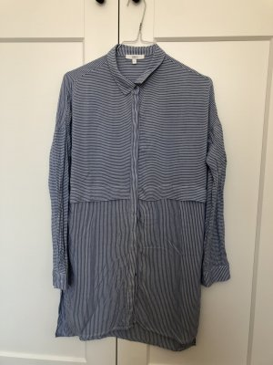 Weiß blau gestreifte Long Bluse