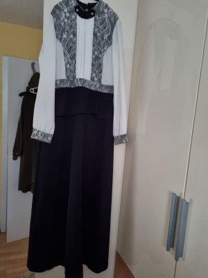 Weiß blaue Abendkleid