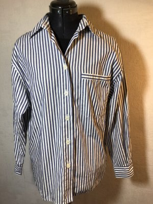 Weiß Blaue Bluse Hemd Vintage