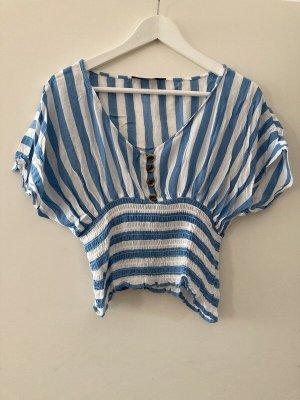 Weiß-Blaue Bluse in Größe S