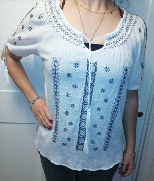 Linen Blouse white-dark blue