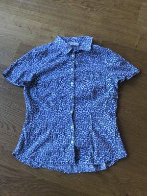 Weiß blaue Print Bluse von H&M Größe 38