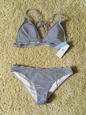 Bikini wit-donkerblauw Nylon