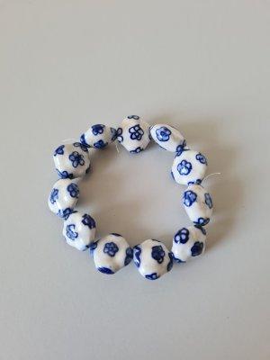 weiß blaues Keramikarmband handarbeit vintage