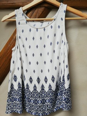 H&M Blusa sin espalda blanco-azul oscuro