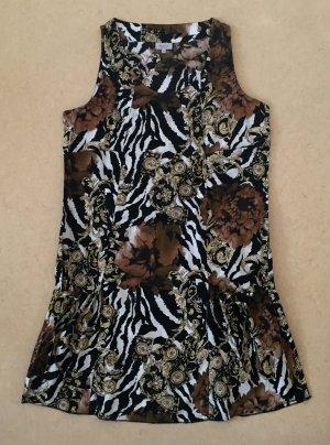 weiß-braun-schwarzes Kleidchen mit Seitentaschen, oberschenkellang, Gr. 42