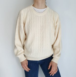weiß creme Cardigan Strickjacke Oversize Pullover Hoodie Pulli Sweater Top True Vintage