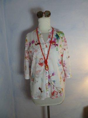 Weiß Eterna Bluse - Multicolor Floral Print - Gr. 40 - feine Baumwoll Bluse - Batist